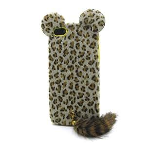 Marrón con Leopard volpe La funda de silicona suave cubierta protectora para Apple iPhone 5 5s 5G 5th Generation with CableCenter Cable Tie