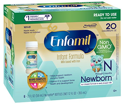 Enfamil Newborn Non-GMO Baby Formula Nursette Bottles, 2 Oz. 6 Count (Pack of 4)