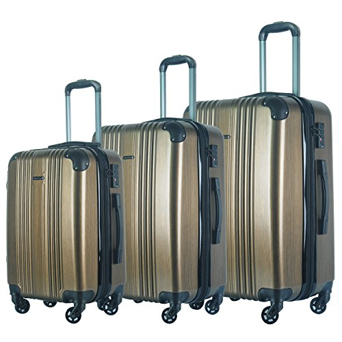 3 Piece Luggage Set Durable Lightweight Spinner Suitecase LUG3 6111 GOLD by HyBrid & Company