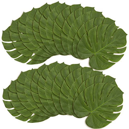 24-Pack Tropical Palm Leaf - Artificial Fabric Monstera Leaf, Summer Luau Party Decorations, Tropical Themed Decor, Safari Plant Leaves, Green - 13.7 x 11.5 Inches (Tree Small Fake Palm)