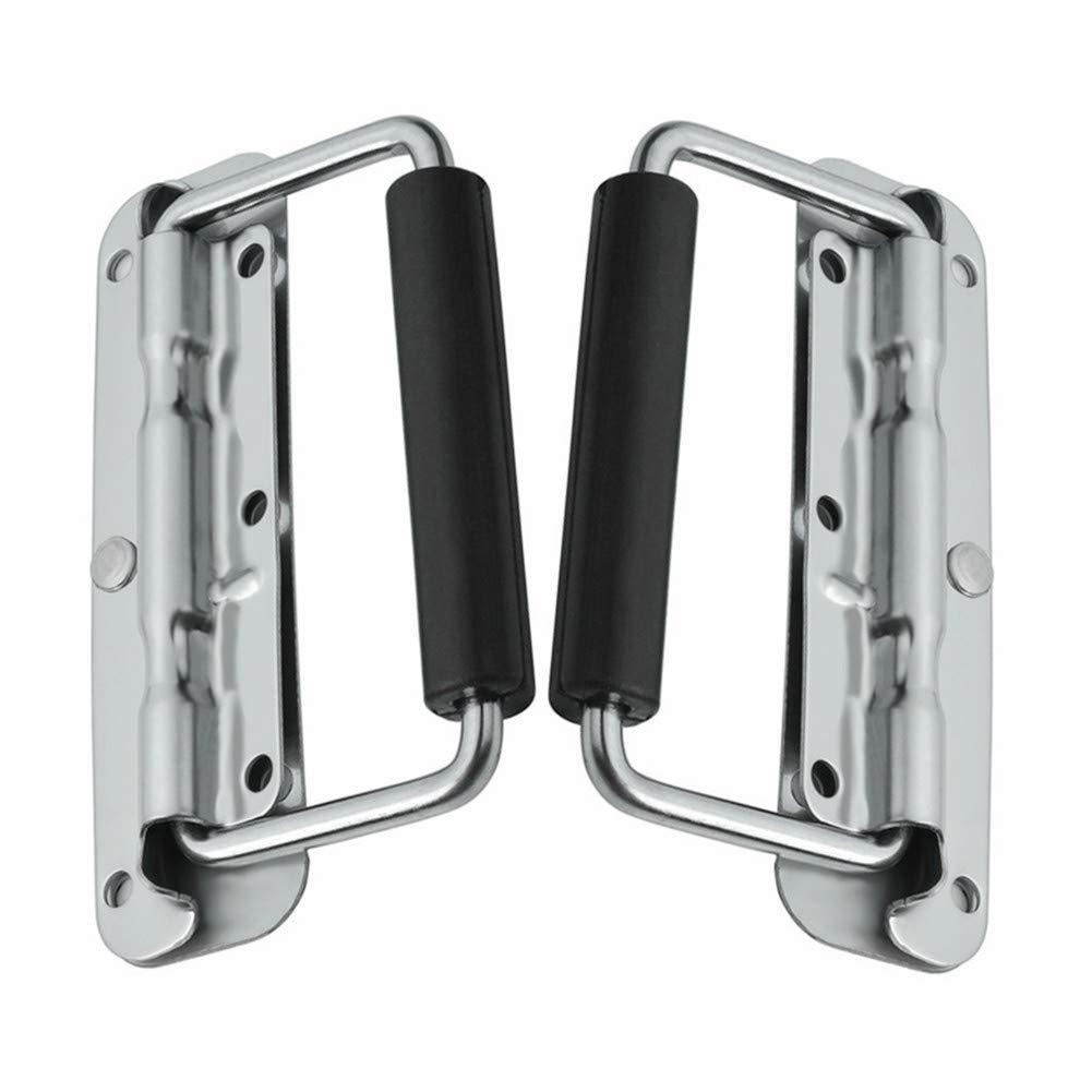 Qiorange 2Pcs Kistengriff Feder Klappbar Klappgriff Edelstahl Hardware Boxen Griff silber Farbe und Schwarz 140mmx40mm