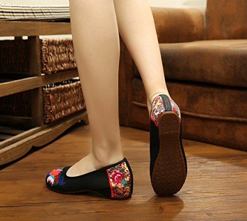 Scarpe donna Chnuo da Ballerine ballo comode suola moda stile black ricamate da etnico donna tendina scarpe scarpe a scarpe wIC7qIx1