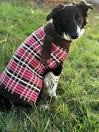 Amazoncom Ofpuppy Dog Sweater Plaid Puppy Pet Winter Clothes Soft