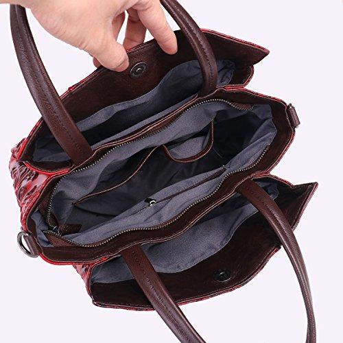 b10fa0ec0b5b APHISON Designer Unique Embossed Floral Cowhide Leather Tote Style Ladies  Top Handle Bags Handbags (RED) - Buy Online in UAE.
