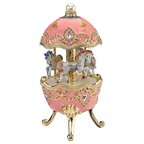 Design Toscano Horse Carousel Romanov Style Enameled Music Box Eggs, Pink
