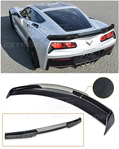 Extreme Online Store Replacement for 2014-2019 Chevrolet Corvette C7   Z06 Z07 Stage 3 Style Rear Trunk Lid Wing with Light Tinted WickerBill Spoiler (ABS Plastic - Painted Carbon Flash ()