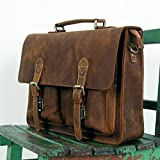 Handmade Vintage Leather Briefcase / Leather Messenger Bag / 13'' 14'' MacBook 14'' Laptop Bag