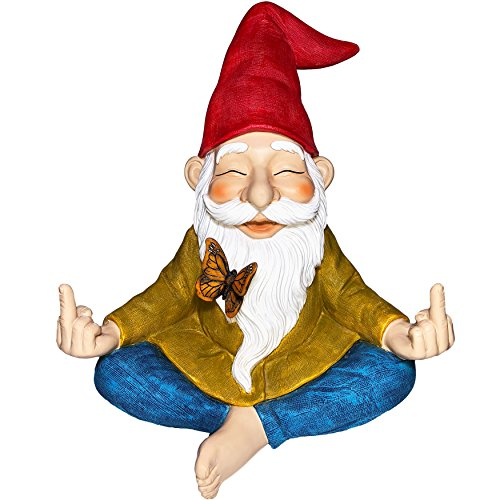 Mood Lab Garden Gnome – Zen Gnome Statue – 9 Inch Tall Hand Painted Lawn Gnome Figurine for Outdoor or House Decor
