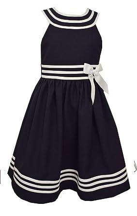 Bonnie Jean Big Girls Plus Size Nautical Dress U-Shaped Neck Navy, Sz 18-1/2