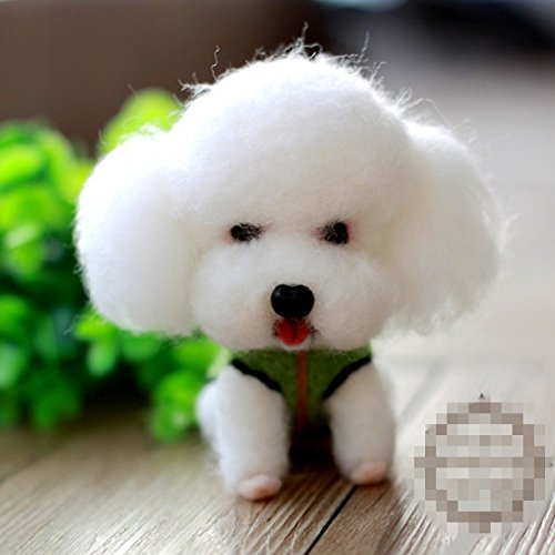 WellieSTR Natural Wool Roving Needlecrafts Needle Felted Felting Character Starter Kit: Lovely White poodle dog ()