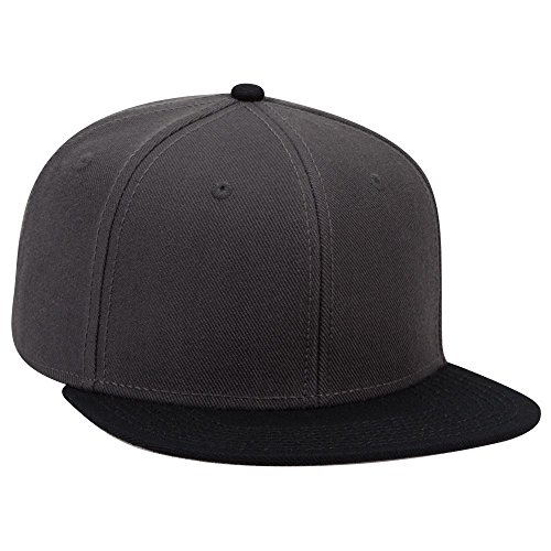 (OTTO Wool Blend Twill Square Flat Visor SNAP 6 Panel Snapback Hat - Blk/Ch.Gry/Ch.Gry)