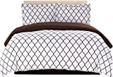 perfect modern duver cover  Duvet Cover Set, 1800 Count Egyptian Quality King Soft Premium Bedding Collection, 3 Piece Luxury Soft, 2 Pillow Shams (White/Chocolate, Full/Queen)