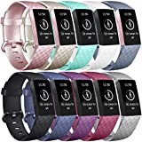 Vancle Bands Compatible with Fitbit Charge 3 Bands Replacement Charge 3 SE Classic Sports Accessories Wristbands Small Large for Women Men (#10PCs-B, Small)