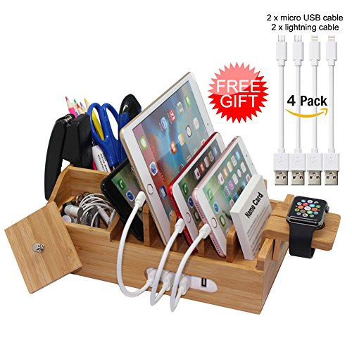 Price comparison product image Bamboo Charging Station Organizer for Multiple Devices iPhone iPad Tablet Watch,  Office Desktop Docking Stations (Include 4 x Charging Cable),  Storage Box Stand for Pen, Key, Knife - Pezin & Hulin