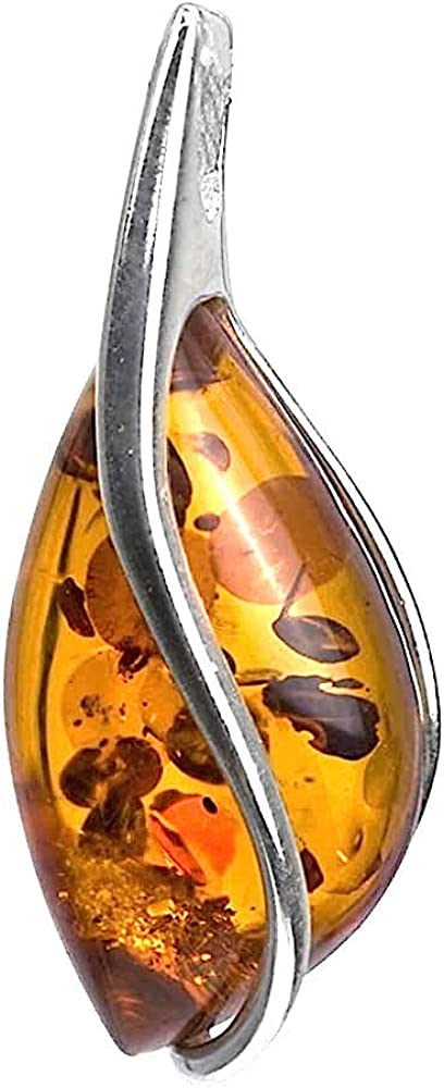 AMBER PENDANT DROP Natural Baltic Amber Bead Gift Silver 925 Ladies Jewelry 2,4g 15072