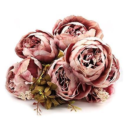 DealMux Flores Artificial, Artificial peônia flores de seda Bouquet Início Wedding Decoração luz roxa