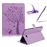 Flip Case for Samsung Galaxy Tab A 10.1 inch SM-T580,Smart Leather Cover for Samsung Galaxy Tab A 10.1 inch SM-T580,Herzzer Retro Pretty Tree Butterfly Cat Design Wallet Folio Case Full Body PU Leather Protective Stand Cover with Inner Soft Silicone Shell for Samsung Galaxy Tab A 10.1 inch SM-T580 + 1 x Free Black Cellphone Kickstand + 1 x Free Black Stylus Pen