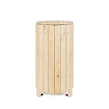 Papelera exterior de madera de pino tratada con tapa: Amazon.es: Jardín