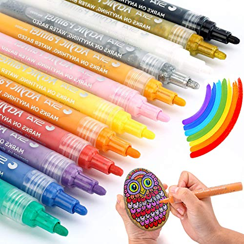 MISULOVE Paint Pens for Rock Painting, Fabric, Ceramic, Glass, Canvas, Wood, DIY Craft Making Supplies, Christmas Gift for Kids, 12 Permanent Acrylic Paint Markers, Medium Point Tip