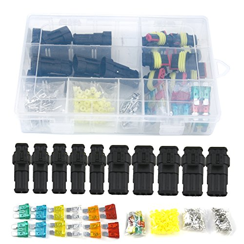 10 Set Waterproof Electrical Connector Plug Terminals Heat Shrink 2/3 Pin Way with Fuses, Clear Box by Qook (Image #1)