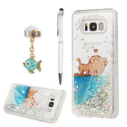 S8 Plus Case, Flowing Liquid 3D Glitter TPU Silicone Quicksand Case Floating Moving Bling Hearts Sparkly Print Clear Shockproof Protective Cover for Samsung Galaxy S8 Plus by YOKIRIN, Cat & - Transparent Cat Pictures