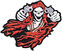 "12.25"" Big Skull Gunman Motorcycle Riding Rider Biker Tatoo Jacket T-shirt Patch Sew Iron on Embroidered Sign Badge Costume"