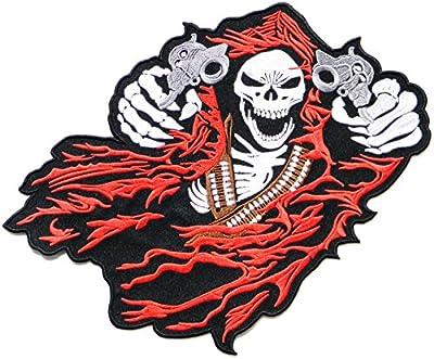 "12.25"" Big Skull Gunman Motorcycle Riding Rider Biker Tatoo Jacket T-shirt Patch Sew Iron on Embroidered Sign Badge Costume"