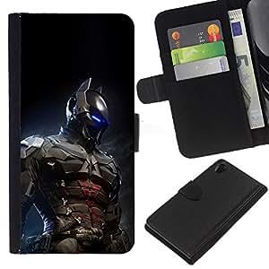 """JackGot ( Futuro Bat Superhero Arkham"""" ) Sony Xperia Z2 D6502 la tarjeta de Crédito Slots PU Funda de cuero Monedero caso cubierta de piel"""
