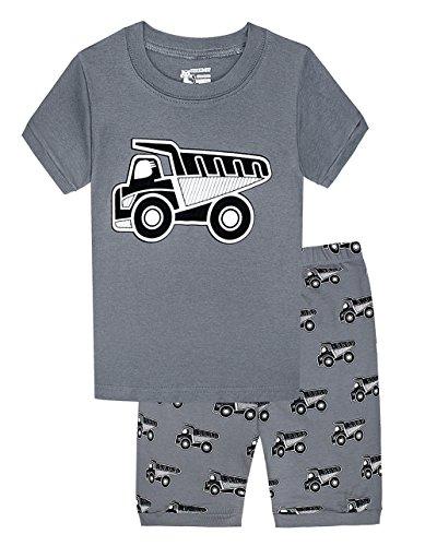Boys Truck Pajamas Children Cotton 2 Piece Sleepwear Clothes Set For Kids (Grey,7T)