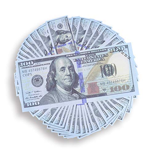Prop Toy   10,000$  100 Count of 100$ Dollar Bills   Double-Sided Banded   Pretend Play   Fake Real   Great for Games with Children   (100)