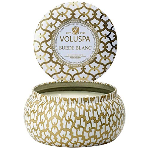 (Voluspa Suede Blanc 2 Wick Metallo Tin Candle, 11 Ounces )