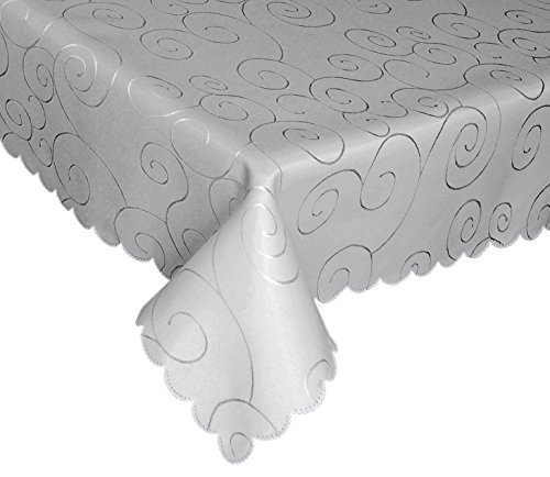 "EcoSol Designs Microfiber Damask Tablecloth, Wrinkle-Free & Stain Resistant (60x102"", Grey/Silver) Swirls"