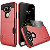 LG G5 Case,Profer [Heavy Duty][ Drop Protection] Dual Layer Armor Holster Defender Full Body Protective Hybrid Wallet Case Card Slots [Slim Fit]cover for LG G5(Red)