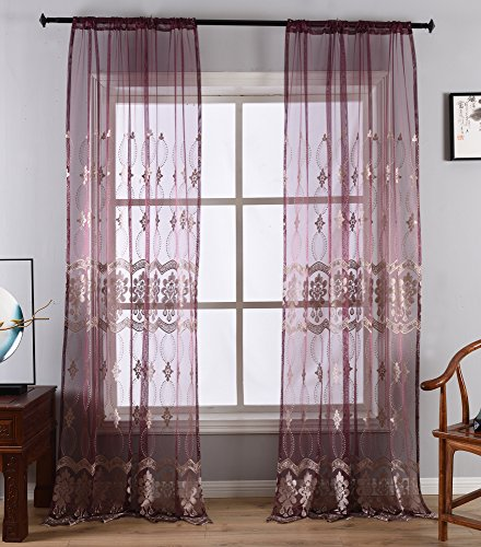 (Aside Bside Sheer Curtain for Living Room European Pattern Embroidery Lace Window Voile Drape Rod Pocket Panel for Bedroom(1 Panel, W 52 x L 84 inch,)
