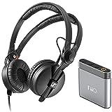 Sennheiser HD 25 PLUS On-ear closed back Monitor DJ Headphones + FiiO A1 Portable Headphone Amp (Silver)