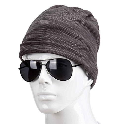 Winter Men Warm Outdoor Hats Fashion Skull Slouch Cap (Gray)