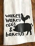 Funny Kitchen Towel - Eggs and Bacon Tea Towel - Farmhouse