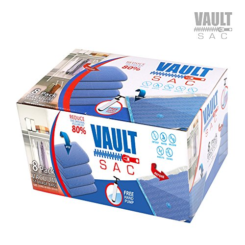 Vacuum Storage Bags | 8 PACK JUMBO Size | 8 x Jumbo Size 40 Inch x 30 Inch Bags | 80% MORE STORAGE for Clothes Blankets Duvets & Much More | Works with Any Vacuum Cleaner FREE Hand-Pump For Travel