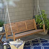 Swing, Porch Swing, Yard Swing, 5 Ft., Outdoor Horizontal Slat Back Porch Swing Crafted From Premium Acacia Wood In Natural Finish Review