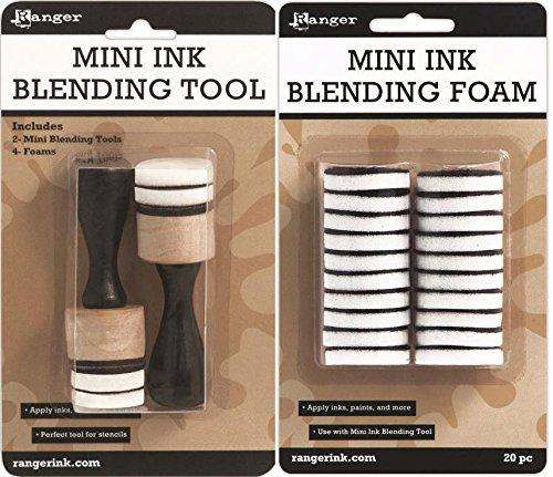 - Ranger Distress Mini Ink Blending Tool and Blending Foam Bundle, 1-inch Round