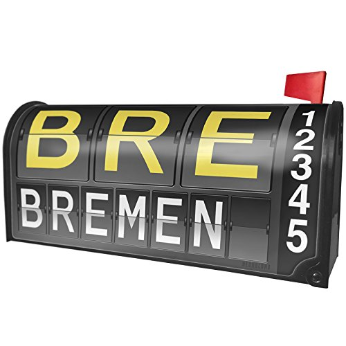 Bremen Port - NEONBLOND BRE Airport Code for Bremen Magnetic Mailbox Cover Custom Numbers