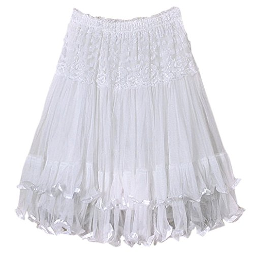 DEHANG Womens Lace Gauze Double Layer Elastic Waist Maxi Skirt - White 1