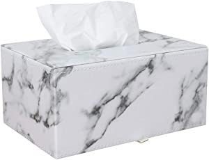 KINGFOM Rectangular PU Leather Facial Tissue Box Napkin Holder for Home Office, Car Automotive Decoration (Gray Marble Pattern, Plain Pattern-PU Leather)
