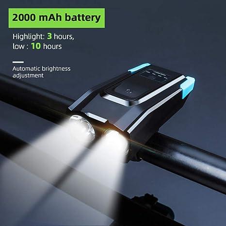 A luz Bicicleta Recargables USB Luz de Bicicleta multifunci/ón 4 en 1 4000mAh L/úmenes Linterna de Bicicleta Bocina de Bicicleta Soporte para tel/éfono Banco de energ/ía Luz Delantera de Bicicleta N