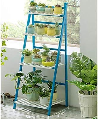 D&LE Plegable Bambú Estantería para Plantas 4 Niveles Escalera Soporte de la Flor estantería Multifuncional para Inicio Patio Jardín El balcón Decoración Titular-Azul 20x19x48(50x47x122cm): Amazon.es: Hogar
