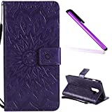 EMAXELER Samsung Galaxy J8 Case Cover Stylish Wallet 3D Embossed Kickstand Flip Sun Flower Three Dimensional Cards Slot Cash Pockets PU Leather for Samsung J8 Sun Purple