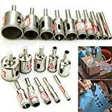 WILLAI 10pcs/set Diamond Coated Core Saw Drill Bits Set Tool For Glass Ceramic Hole Marble 6-30mm
