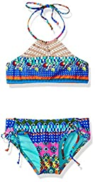 Hobie Big Girls\' Seam Weaver Two Piece Crochet Bikini Adjustabale Hipster Swimsuit, Multi, 8