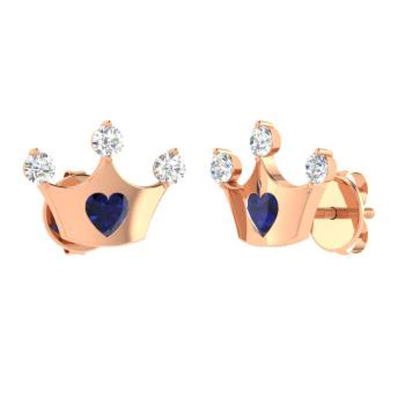 TrioStar 1.15 Ct Heart Shaped Blue Sapphire 14k Rose Gold Plated Fashinable Princess Crown Shape Stud Earrings