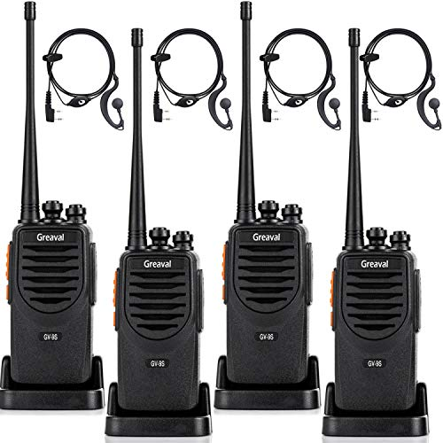 Greaval GV-9S Walkie Talkies Long Range for Adults Rechargeable 2 Way Radios 4 Pack with Earpiece Li-ion Battery USB Charing Desktop Charger Walkie Talkie UHF 400-470Mhz 4Pack